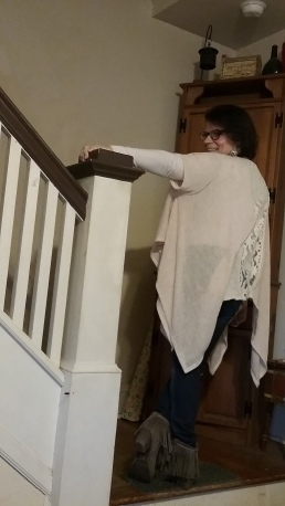 Altar'd State poncho with back lace insert