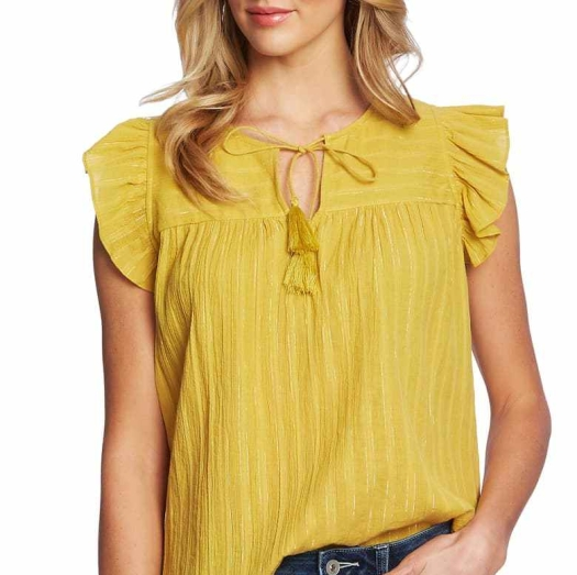 Triangle tie-neck flutter sleeves